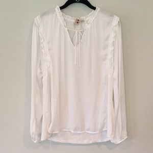Anthropologie Long Sleeve White Top - Size M